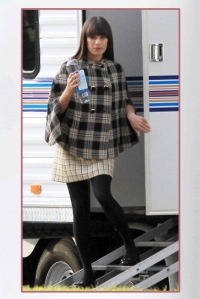 Lea Michelle wearing plaid cape