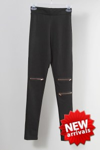 FULL LENGTH PONTE LEGGINGS ZIPPER TRIM - Coming soon! $26.99