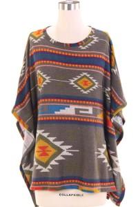Tribal print poncho
