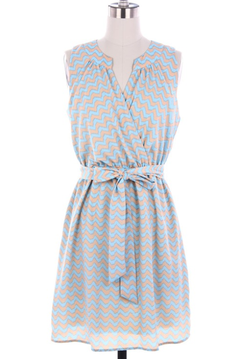 Peach / Sky Blue chevron print